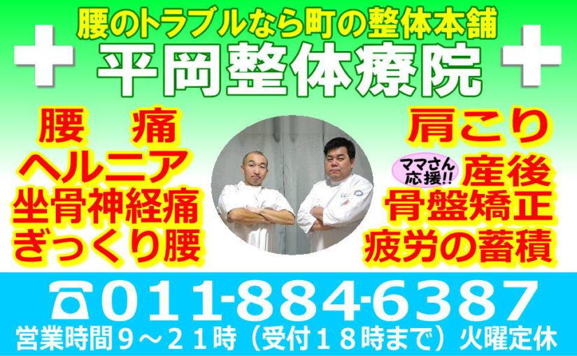 札幌市清田区厚別区の平岡整体療院・腰痛骨盤矯正